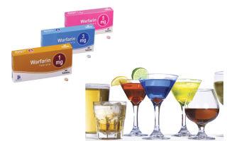 Прием Варфарина и алкоголя одновременно увеличивает риск внутренних кровотечений